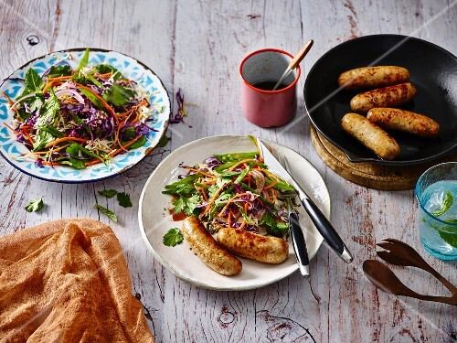 Pork and chilli sausages with coleslaw