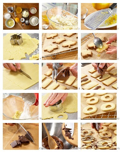 Biscuits being made with oranges, nougat and coconut