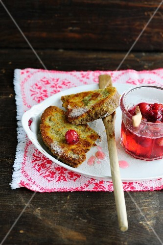 French toast with redcurrant jelly