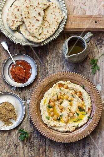 Hummus and unleavened bread