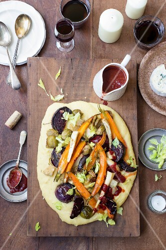 Polenta with oven-roasted vegetables