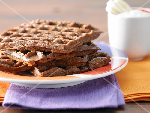 Chocolate and banana waffles