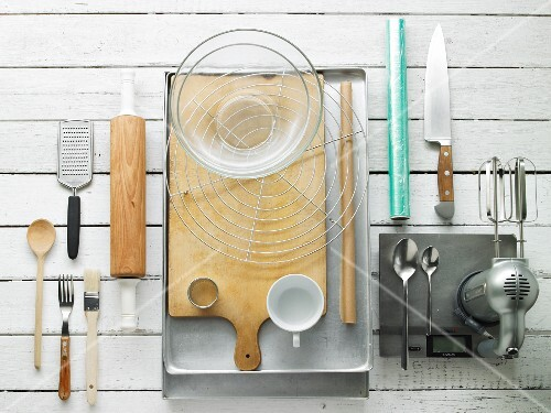 Kitchen implements and utensils for making biscuits