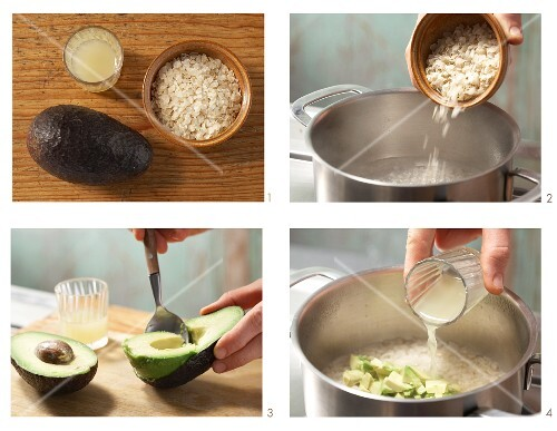 Rice flake porridge with avocado being made