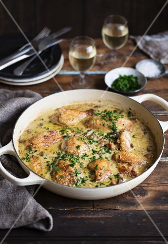 Coq au vin with white wine