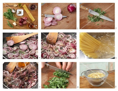 Spaghetti with an onion and olive sauce and rocket being made