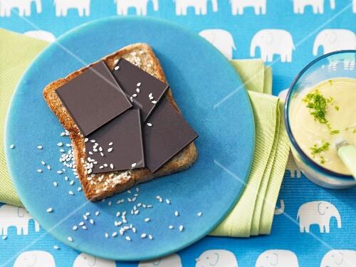 Chocolate on toast with mango yoghurt