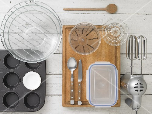 Kitchen utensils for making muffins and cupcakes