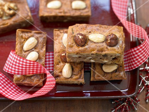 Christmas honey cake with almonds and hazelnuts