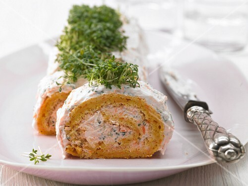 Savoury carrot Swiss roll with cress quark for Easter