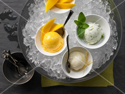 Mango, mint and lemon ice cream