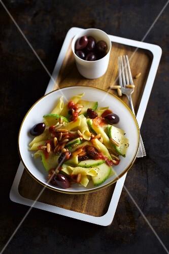 Pasta salad with courgette caponata