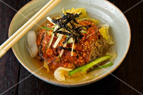 Dongchimi Maemil Guksu (buckwheat noodles with cold kimchi broth, South Korea)