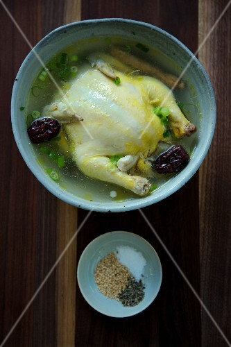 Samgyetang (chicken soup with dates, South Korean)