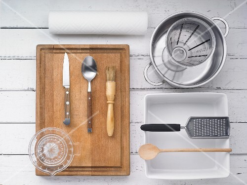 Kitchen utensils for making risotto and fish