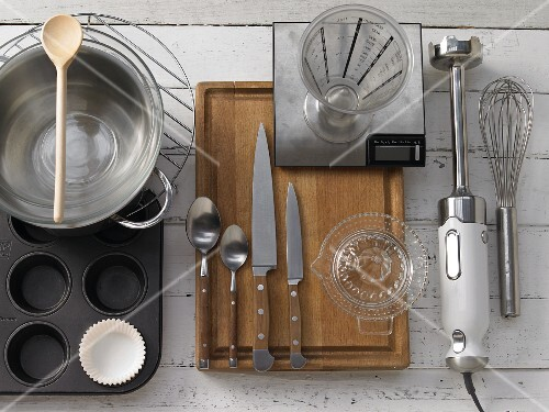 Kitchen utensils for making soups and muffins