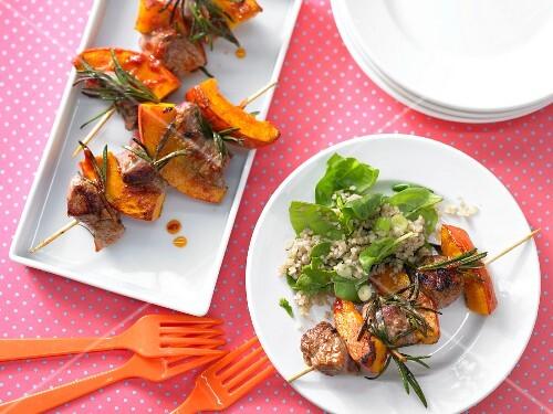 Lamb kebabs with Hokkaido pumpkin