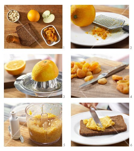 A spread of being made from dried apricots with almonds to be served with apple balls