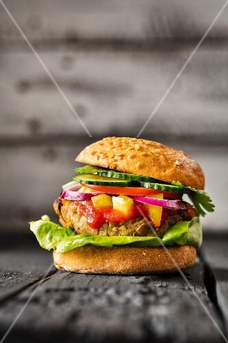 A gluten-free veggie burger
