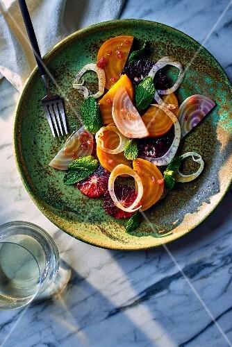 Blood orange and beetroot salad with fennel and a blood orange vinaigrette