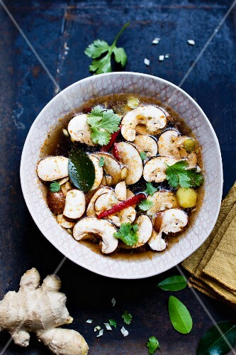 Thai soup with mushrooms and ginger