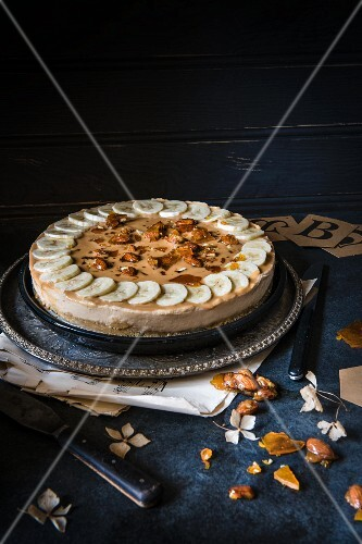 Banana and toffee cake with almond brittle