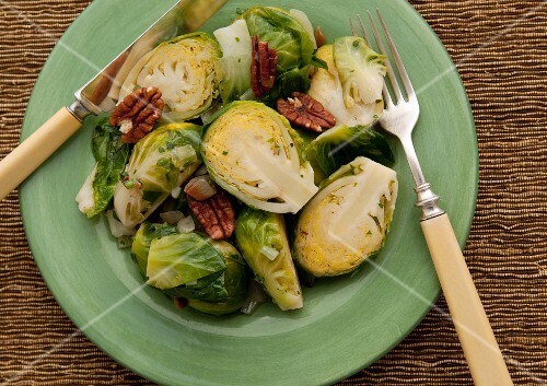 Brussels sprout and pecan nut salad