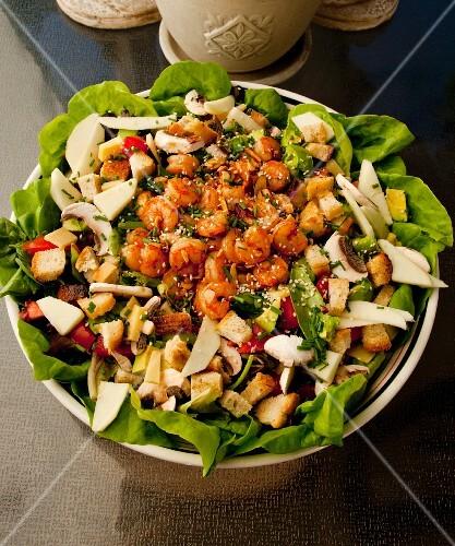 Prawn and mushroom salad