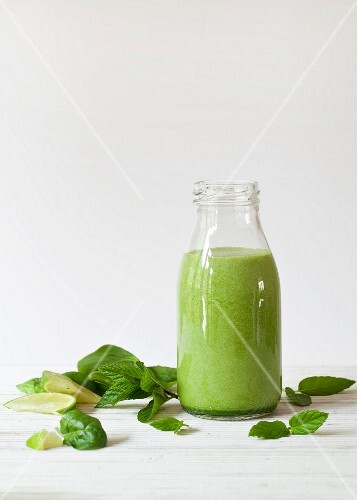 A bottle of spinach, mint and lime smoothie