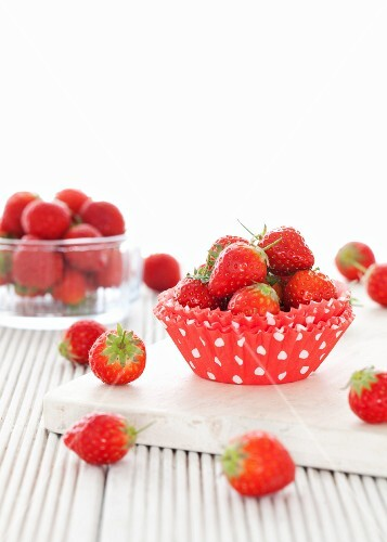 Fresh strawberries in a cupcake case