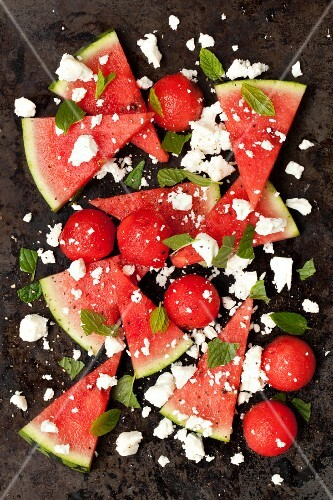Watermelon salad with feta cheese and fresh mint (seen from above)