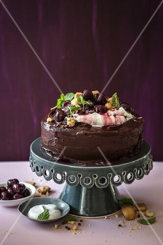 Chocolate mayonnaise cake with cherries and dark ganache
