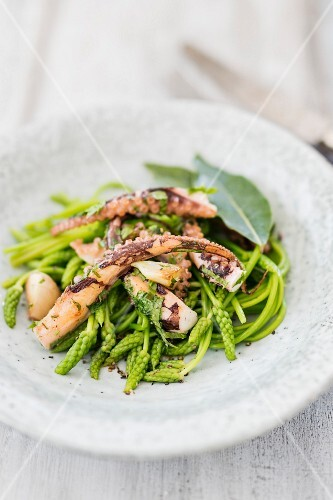 Asparagus salad with octopus