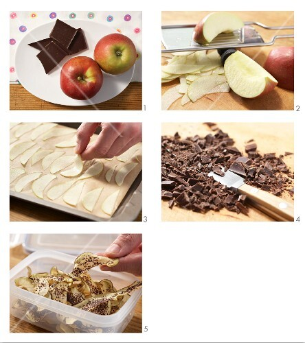 Apple and chocolate crisps being made