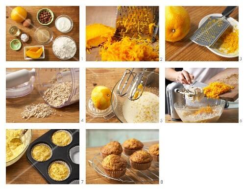Pumpkin muffins with hazelnuts being made