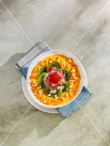 Mango and papaya smoothie bowl