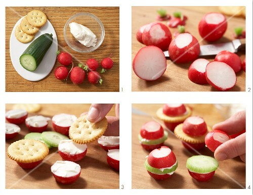 Radish sandwiches with cream cheese, cucumber and crackers being made