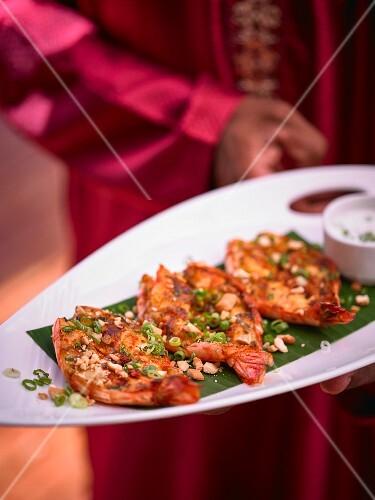 Creole-style king prawns