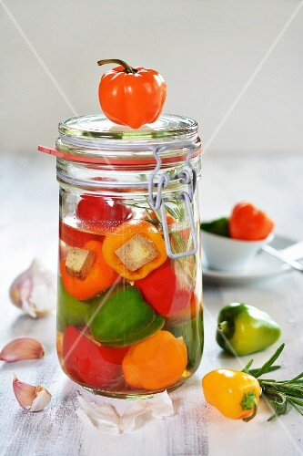Colourful pickled peppers filled with tofu