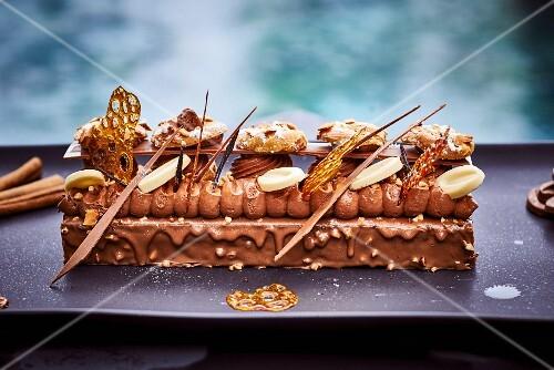 An elaborately decorated chocolate cake