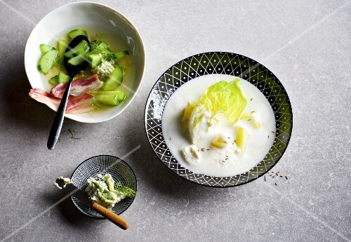 Cucumber stew with bacon and dill butter and quark cream soup with lettuce