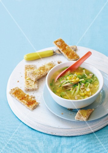Chicken and sweetcorn soup with breadsticks