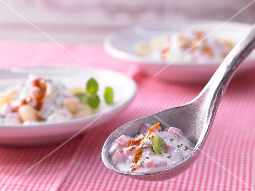 Cold yoghurt and garlic sauce with tomatoes