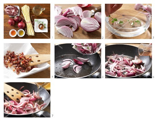 Red onion and bacon sauce for tagliatelle being made