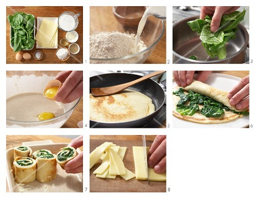 How to make gratinated spinach pancakes rolls