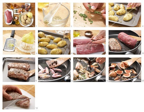 How to prepare wild boar with juniper figs and roast potatoes