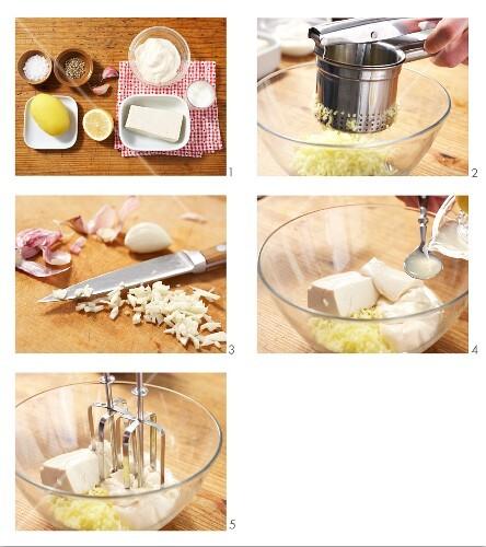 Mediterranean garlic cream potatoes being made