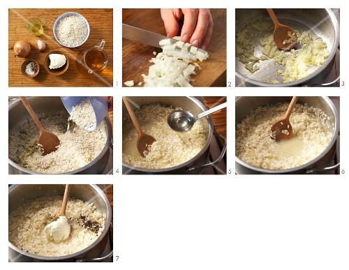 Preparing risotto with cream cheese