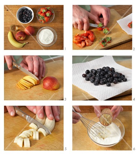 Fruit salad with yoghurt being made