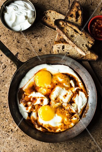 Fried eggs in garlic yoghurt (seen from above)